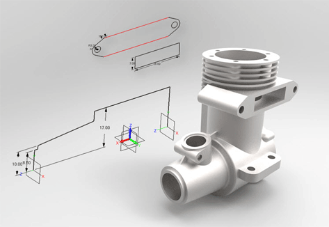 Casting of single cylinder engine with drawing in the background