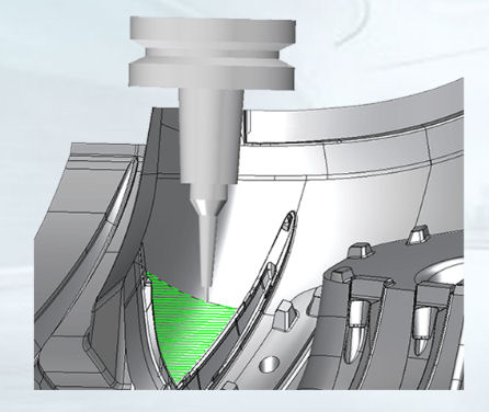 Virtual machine tool with tool milling a component using 5 axes