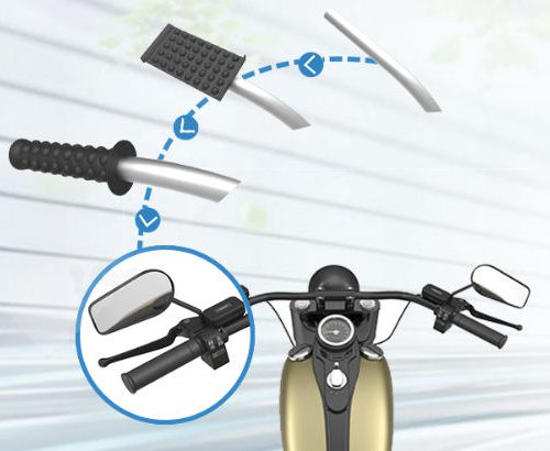 Motorcycle handle grip with embossed features to air grip