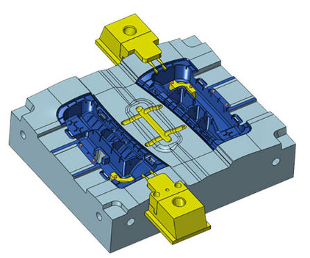Clamped mold tool cavity showing highlighted mold tool inserts
