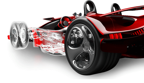 Red racing car with internal components shown in wireframe