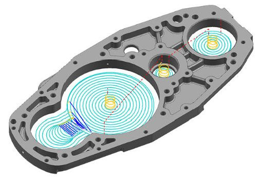 Metal component with several volume milling tool paths displayed
