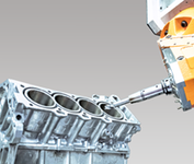A machine tool manufacturing a car cylinder head