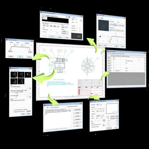 Diagram showing links between ZWCAD processes
