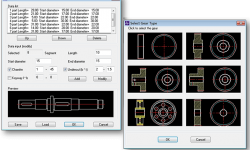 Create shafts and gears by inputting the geometric parameters