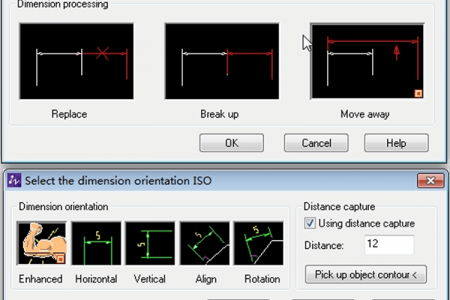 Dialog showing options for dimension overlap correction