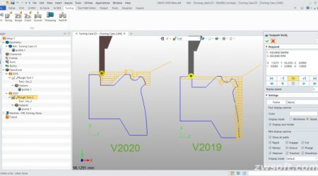 Screen with side by side comparison of two turned tool paths