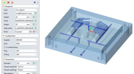Bottom half of mold tool showing cooling water ways