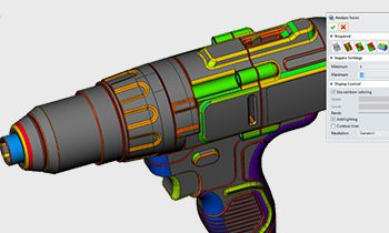 CADbro analysis of a pistol drill showing multi coloured display