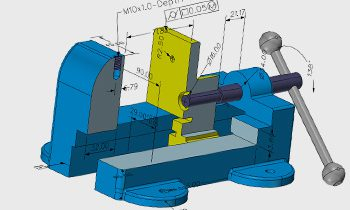 Model of a bench vice with 3D dimensions shown