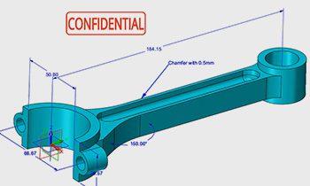 Model of a crankshaft with 3D dimensions shown