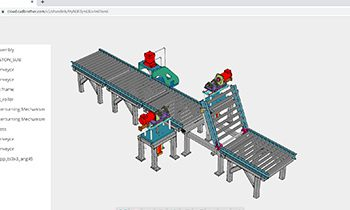 Model of a small assembly line on computer screen