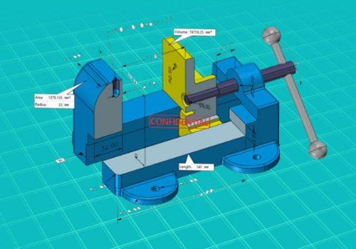 Model of a bench vice on blue hatched background showing dimensions and notes