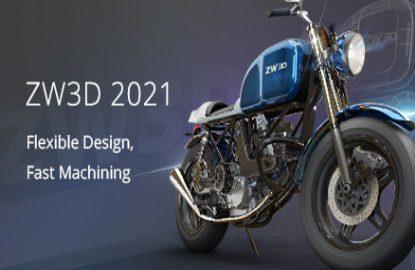 ZW3D Modelled Motor bike on blue background