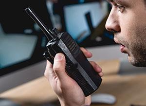 Man on walkie talkie