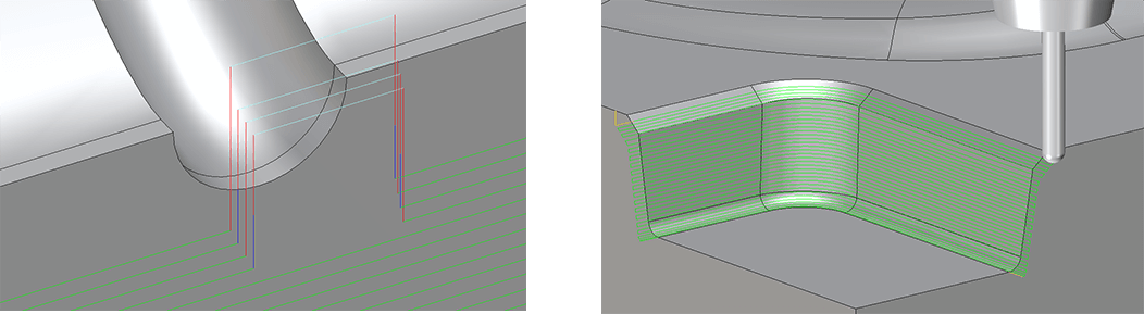 ZW3D tool path before and after edits