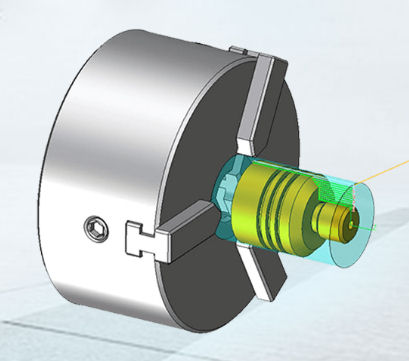 Machine chuck with component and tool path displayed