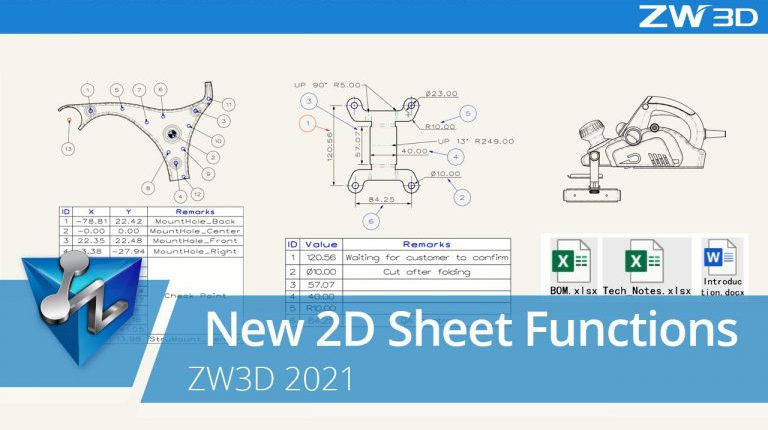 ZW3D drawing of mechanical components