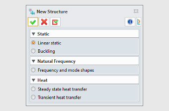 Computer dialog window for creating a new structure