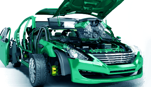 Green sports car with bonnet raised showing ZW3D modelling of components