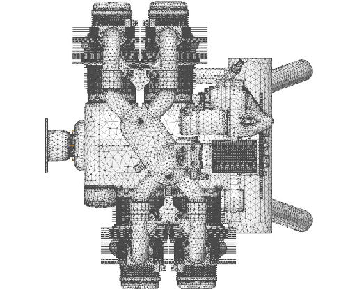 Plan view of an entire car engine with FEA mesh in grey