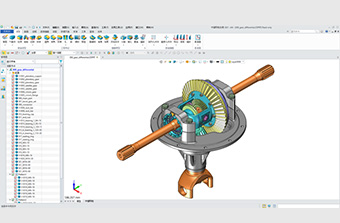 A model of a rack and pinion gear in the ZW3D modelling software