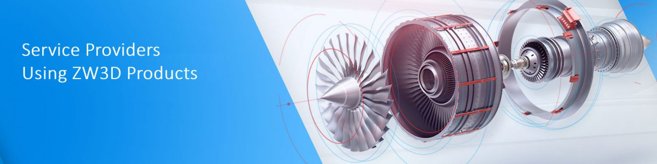Exploded view of an aero engine sowing all the components on a silver and blue background