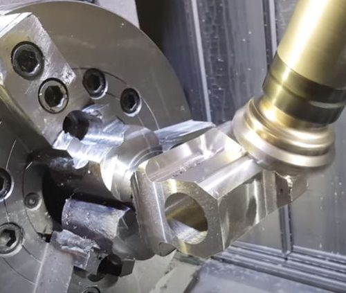 Component being machined on a CNC machine